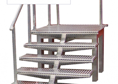 Aluminum tread plate staircase