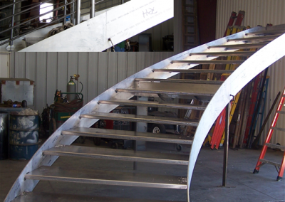 8  Curved aluminum staircase