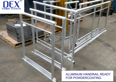 Aluminum Handrail ready for powdercoating