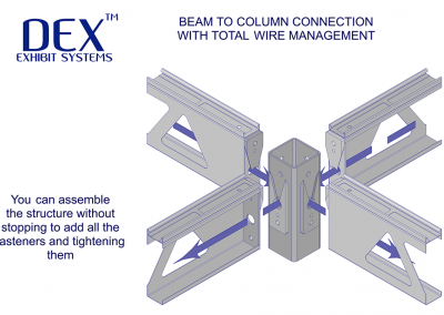 Beam to Column connection with total wire management