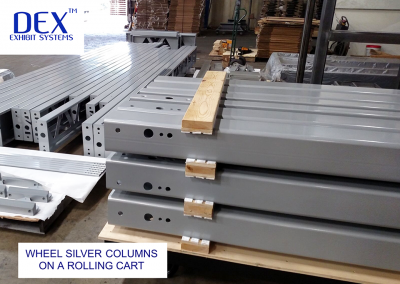 Powdercoated columns on a rolling cart